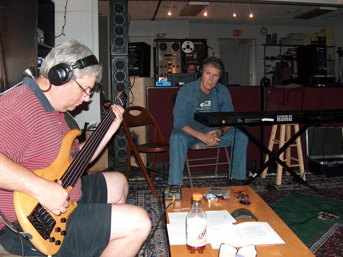 Roy Smith, Doug Smith (at controls) and Engle